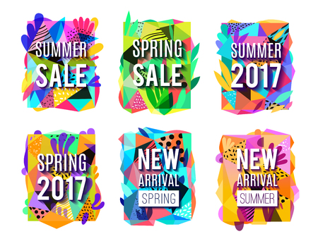 Season sales 6 modern colorful background banners collection for springand summer new arrivals  isolated vector illustration