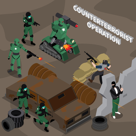 Robot professions 3d design concept on theme of counterterrorist operation isometric vector illustration Illusztráció