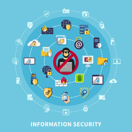 Information security composition with malicious activity symbols on blue background flat vector illustration Ilustrace