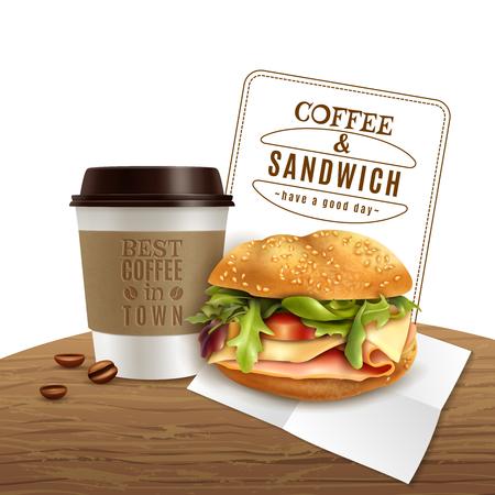 Fast-food lunch ontbijtmenu realistische advertentie poster met afhaalmaaltijden koffie en heerlijke ham kaas sandwich vectorillustratie Stock Illustratie