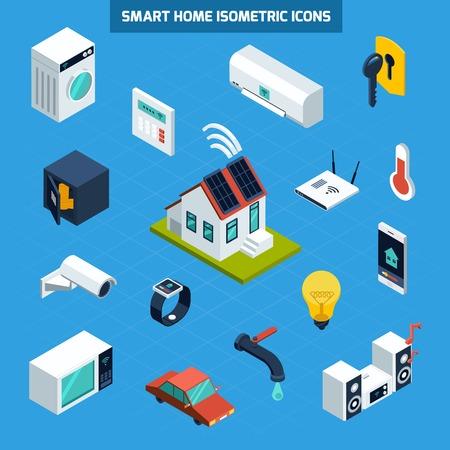 Smart home icons set on blue background isometric isolated vector illustration
