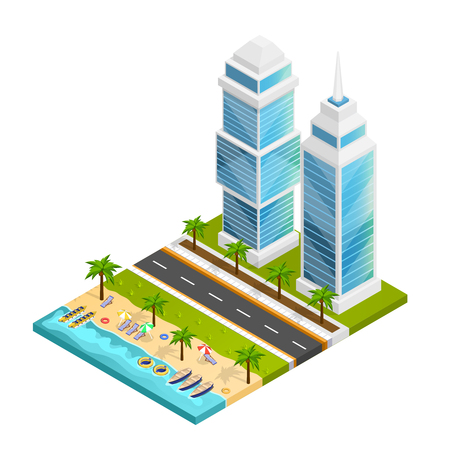 City and beach isometric concept with skyscraper road and sea vector illustration