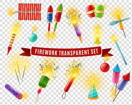 Pyrotechnics firework firecrackers indian bengal lights and sparklers special effects colorful collection on transparent background vector illustration