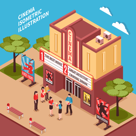 Cinema building isometric composition with posters signboards and viewers at entrance vector illustration Ilustrace