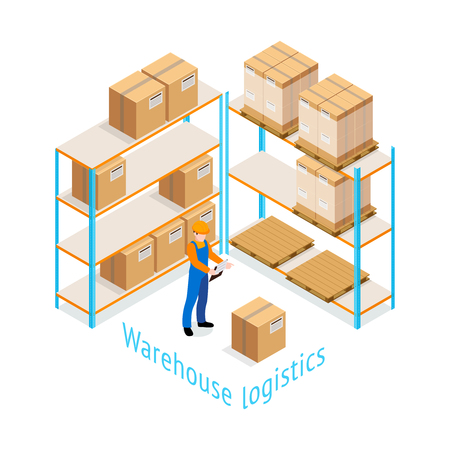 stored: Warehouse logistics isometric design with worker doing inventory of goods stored on shelves 3d vector illustration Illustration