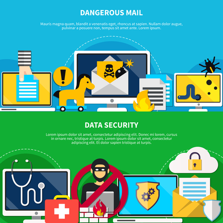 Hacker horizontal banners with dangerous mail and data security design elements flat vector illustration