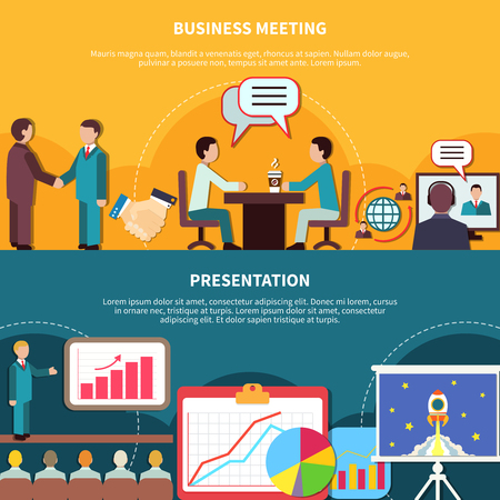 Set of two horizontal business banners with compositions of flat presentation meeting images with editable text vector illustration