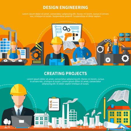 civil construction: Set of two horizontal engineering banners with compositions of factory buildings drawing instruments and plant workers vector illustration