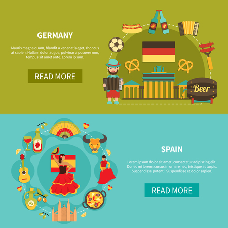 Set of two horizontal travel banners with flat image compositions of german and spanish national characters vector illustration Illustration