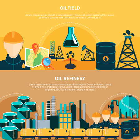 Oil industry banners set with flat images of oil derricks steel barrels transportation and refinery operations vector illustration Stock Vector - 79591757