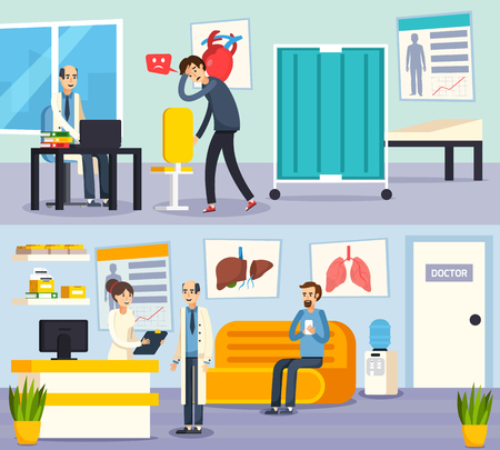 doctor appointment: Two colored male doctor character flat composition set with patients on appointment. Illustration
