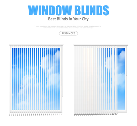 Zwei lokalisierten Fensterelemente mit den weißen vertikalen Vorhängen, die bewölkte realistische Vektorillustration des blauen Himmels übersehen Standard-Bild - 79660055
