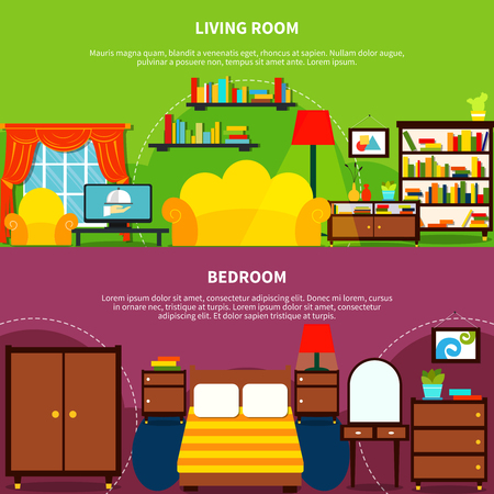 Room interior horizontal banners set with bedroom and living room flat isolated vector illustration Illustration