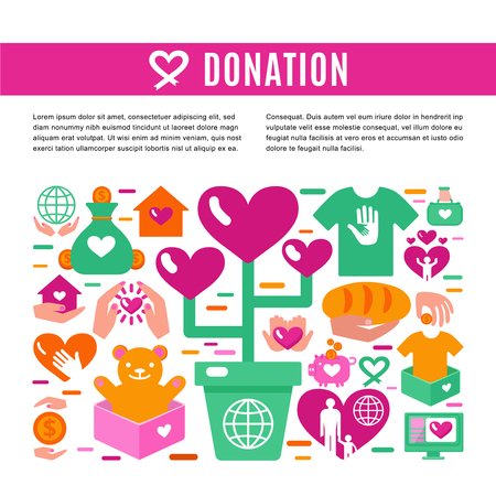 initiator: Charity donation information page with set of colored icons on theme of donating money clothing food and toys for children  flat vector illustration