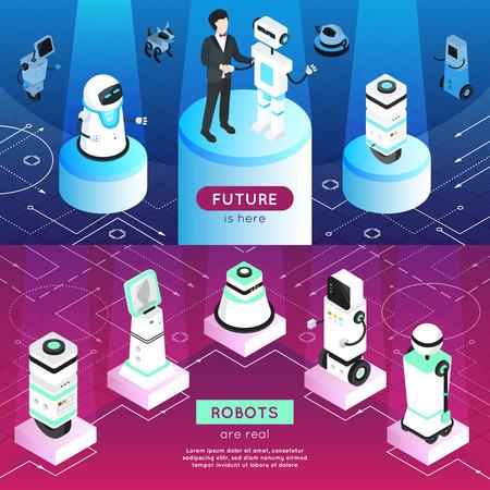 Robots banner orizzontali isometrici con l'uomo, macchine high-tech su piedistalli in raggi di luce isolato illustrazione vettoriale