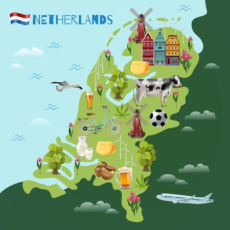 Holland reis bezienswaardigheden kaart met cultuur tradities nationale kaas bier clogs tulpen en windmolens symbolen.