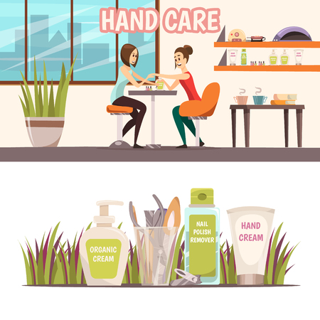Manicure horizontal banners set with nail care symbols cartoon isolated vector illustration