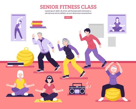 Seniors group fitness class flat webpage design poster with yoga asanas aerobic and balance exercises vector illustration
