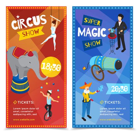 Circus vertical isometric banners with trapeze artist, juggler, super magic show, clown, performing animals isolated vector illustration