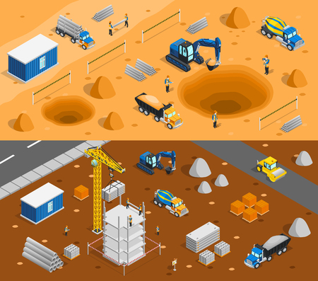 outdoor advertising construction: Construction set of two horizontal banners with isometric images of building yard constructional materials and machinery vector illustration Illustration