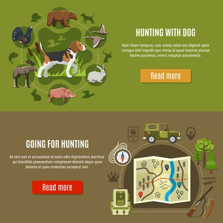Hunting horizontal banners set with dog and hunting equipment symbols flat isolated vector illustration