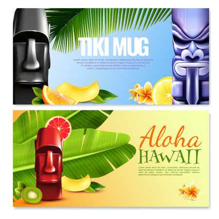Hawaiian party horizontal banners with tiki mugs, lettering aloha, fruits, flowers and tropical plants isolated vector illustration