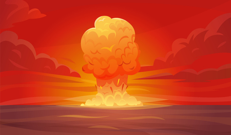 Colored red nuclear explosion composition or poster with column of smoke rising vertically into the sky vector illustration Illustration