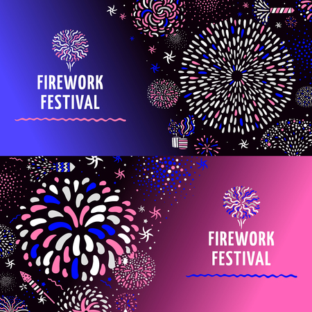 Festive firework radial spiral patterns with stars 2 colorful gradient background horizontal banners set isolated vector illustration
