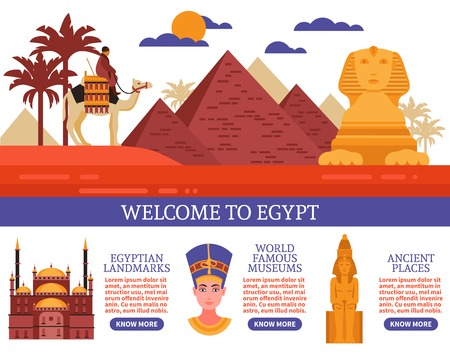 Egypt travel flat vector illustration with invitation to visit egyptian landmarks famous museums and ancient places