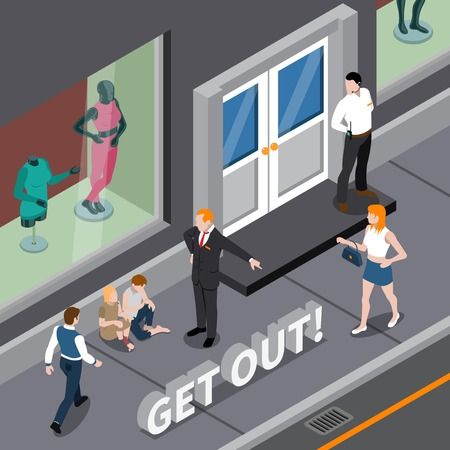 Isometric scene with man in business suit expelling homeless persons from window of clothing shop vector illustration Иллюстрация