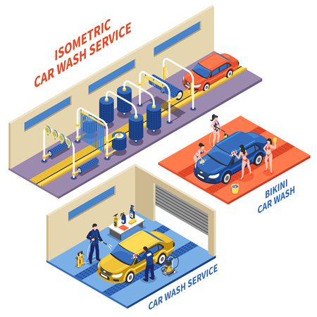 Car wash service isometric compositions with automatic cleaning girls in bikini on white background isolated vector illustration