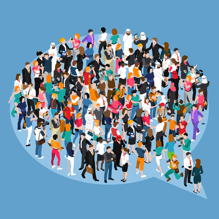 Crowd of different people standing in form of speech bubble isometric concept on blue background vector illustration