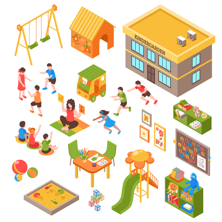 Isometric kindergarten set of isolated playground elements toys indoor furniture and kids characters on blank background vector illustration