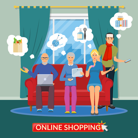 smartphone apps: Online shopping flat composition with people group making purchases on Internet using the computer phone and tablet vector illustration