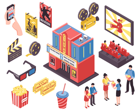 Cinema movie isometric set of isolated picture show icons junk food isometric icons and human characters vector illustration
