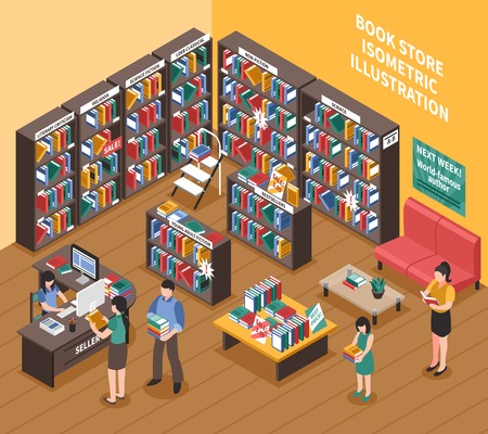 periodical: Book shop interior isometric illustration of bookshelves with printed publications stepladder shoppers and seller vector illustration Illustration