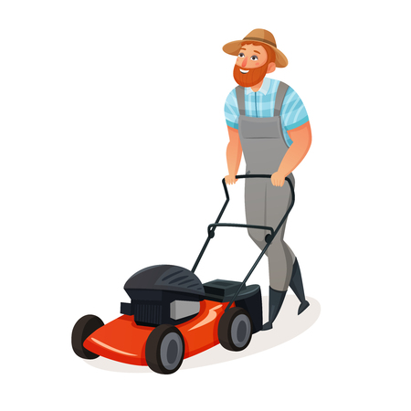 grass cutting: Colored cartoon and isolated grass cutting icon with man working in straw hat vector illustration Illustration