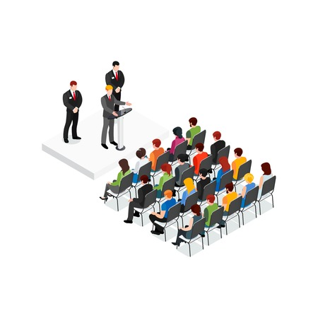 Party meeting isometric design concept with politician and his security speaking in front of audience vector illustration