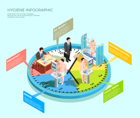 Hygiene infographic isometric conceptual composition with male character morning wash-up routine on top of clockface vector illustration Ilustração