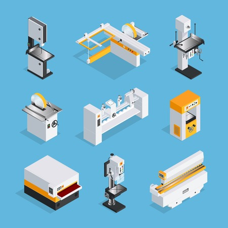 Modern automated woodworking machinery set of equipment for grinding drilling clipping cutting  isometric vector illustration