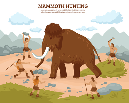People of prehistoric stone age with weapons  hunting mammoth flat vector color illustration.