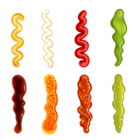 Colorful set of sauce blobs in different forms   in cartoon style isolated vector illustration.