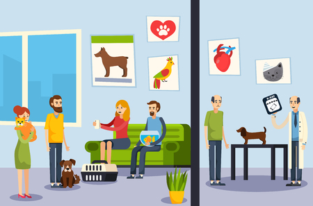 Vet clinic waiting room and veterinarian office dog check up process flat orthogonal flat banners vector illustration Illustration