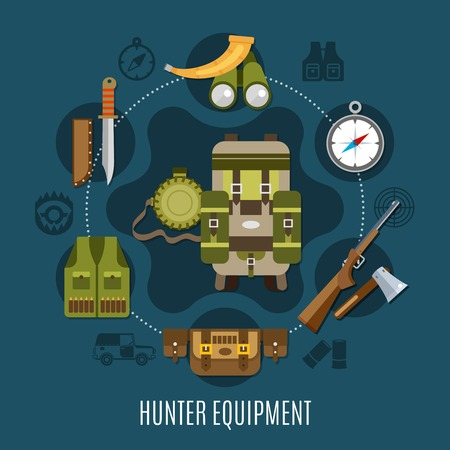 Hunter equipment concept with horn rifle and compass flat vector illustration