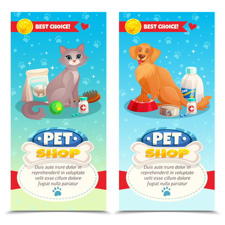 Pet shop vertical banners with cat and dog, feeds, toys, medicines on blue background isolated vector illustration Illustration