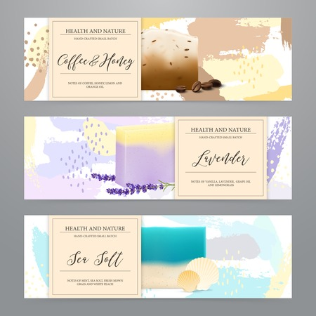 Natural soap bars with sea salt honey coffee lavender packaging 3 realistic horizontal banners set vector illustration