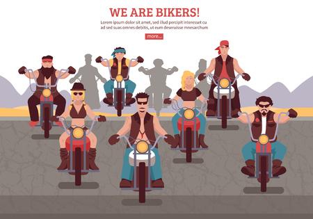 バイク フラット ベクトル図に乗った男性女性バイカーの背景