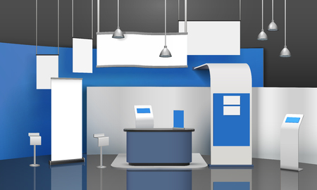 Advertising exhibition stand mockup 3D composition with blank projection display cards and lamps suspended from ceiling vector illustration