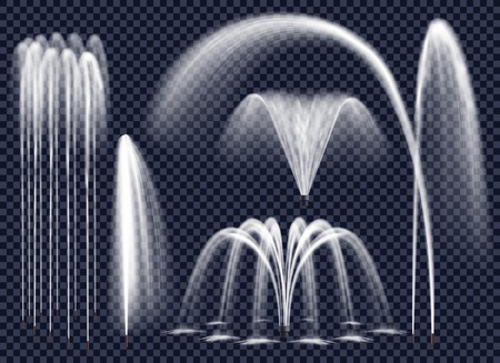 Set of realistic fountains with water jets in various geometric combination on transparent background isolated vector illustration Zdjęcie Seryjne - 80962806
