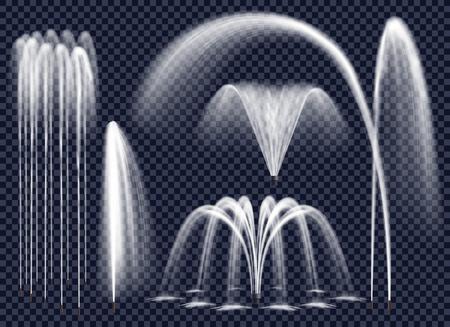 Set realistyczne fontanny z wodnymi strumieniami w różnorodnej geometrycznej kombinaci na przejrzystym tle odizolowywał wektorową ilustrację Ilustracje wektorowe